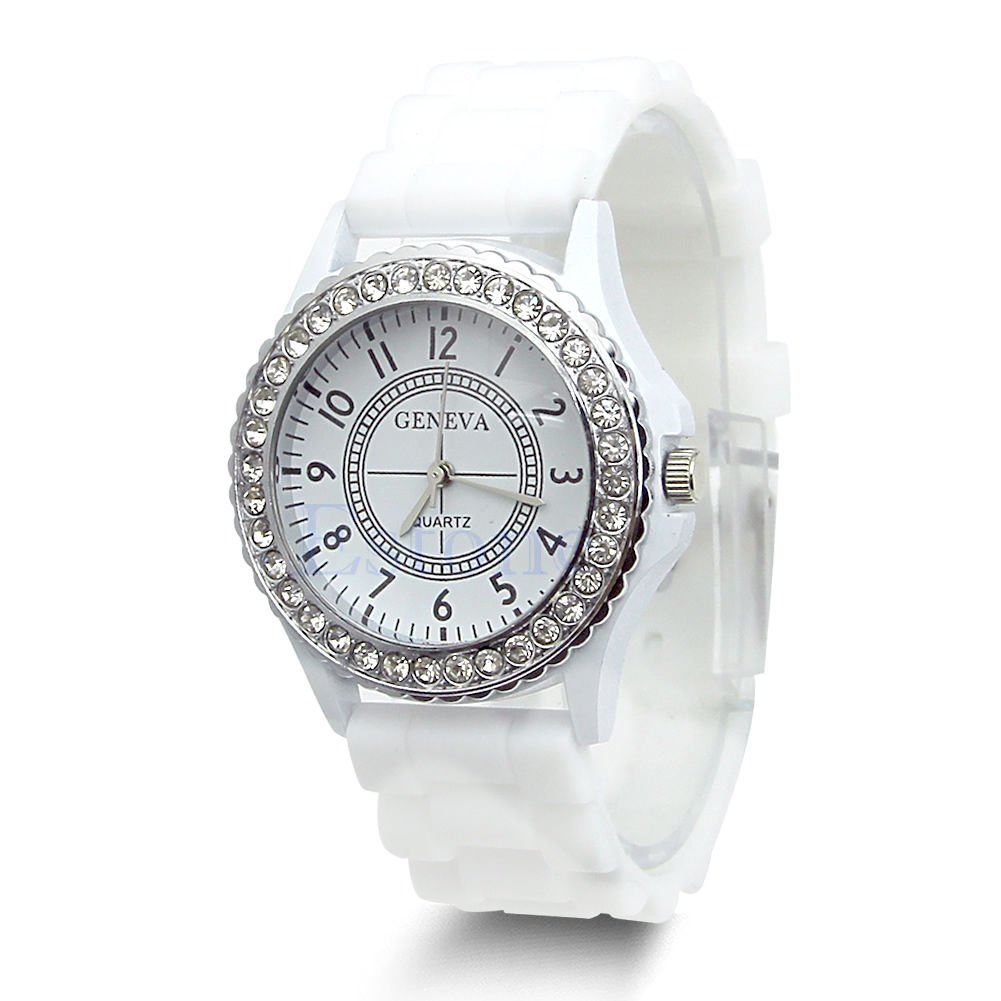 Hot Sell Geneva Silicone Women Bling Crystal Rhinestone Bezel Rubber Jelly Watch White