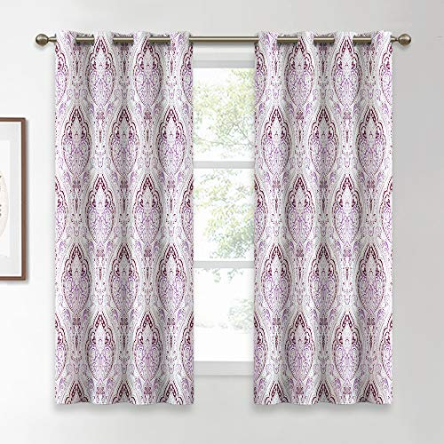 KGORGE Damask Pattern Window Curtains, Medallion Floral Printed Draperies Room Darkening Curtain Sets Heat Insulated for Kitchen/Nursery/Study Room, Lilac, W 52 x L 63 inches, 1 Pair (And Curtains White Lilac)