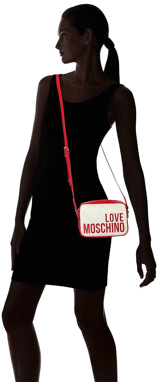 LOVE Moschino Womens Canvas Embroidery Crossbody