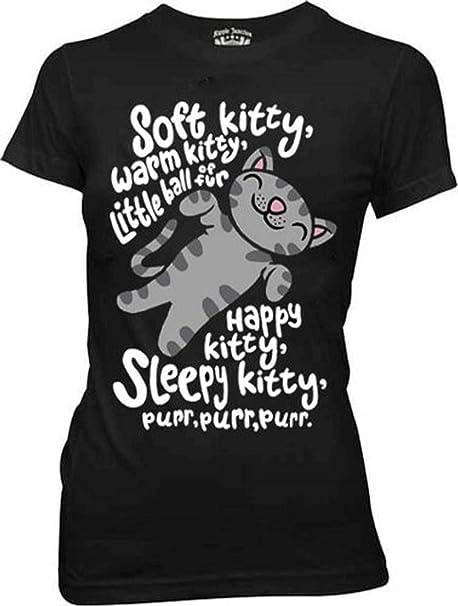 1120e34cc The Big Bang Theory Soft Kitty Warm Kitty BLACK Juniors T-Shirt (Juniors  Medium