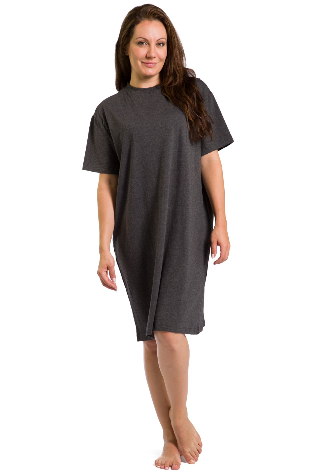Fishers Finery Women's Tranquil Dreams Sleep Tee Comfort Fit, Heather Gray, Plus