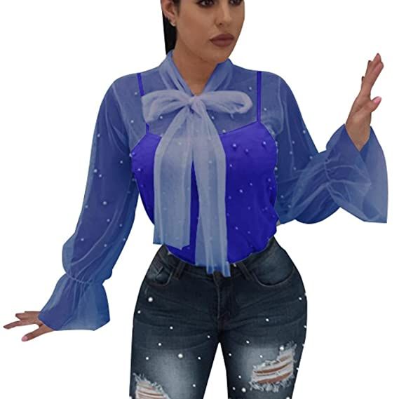 Blusa Mujers Yesmile Camiseta Las Mujeres del Verano del Grano del Clavo de la Manera Transparente