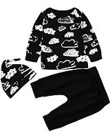 SHOBDW Neugeborenes Baby-Mädchen-Jungen-Wolken-Druck-T-Shirt Tops + Pants Outfits Kleider Set