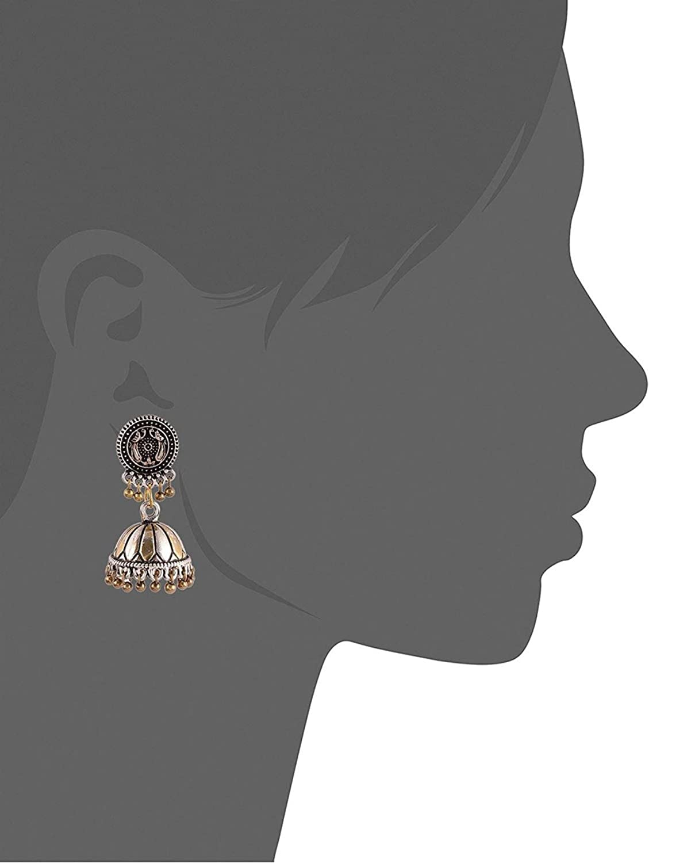 Subharpit Golden Pearl Oxidized Gold Metal Non Precious Indian Ethnic Tratitional Double Tone Jhumki