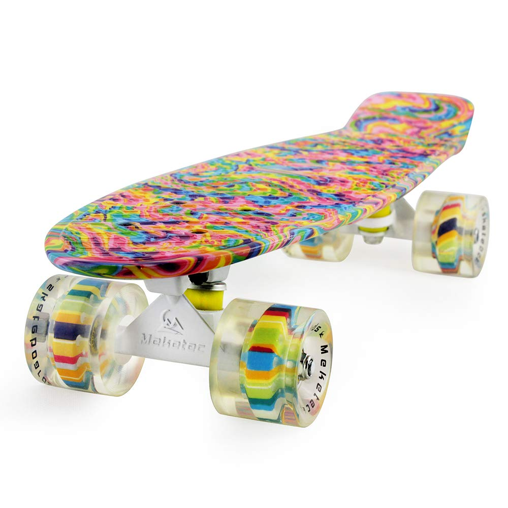 Meketec Skateboard Dog 22 inch Retro Mini Skateboards Kids Board for Boys Girl Youth Beginners Children Toddler Teenagers Adults 5 to 6 Year Old (Bending Color Lines) by Meketec