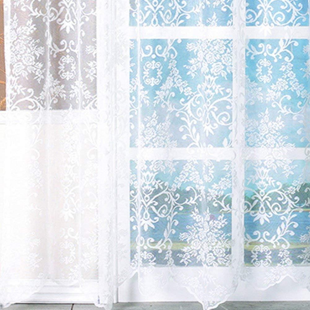 free size Blanc 1Pcs Transparent Romantique Jacquard Tulle Rideau /Ét/é Blanc Fen/être Rideau Maison Chambre D/éco