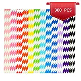 Homsolver 300Pcs Stripe Biodegradable Paper Drinking Straw for Holiday Baby Showers Celebration Parties Supplies and Birthday Parties Weddings, 12 Styles (300 PCS)