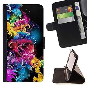 For Samsung Galaxy S5 V SM-G900 Case , Vivid Color Negro Azul Rosa- la tarjeta de Crédito Slots PU Funda de cuero Monedero caso cubierta de piel
