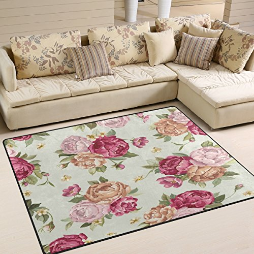 Amazon.com: ALAZA Shabby Chic Floral Area Rug for Living ...