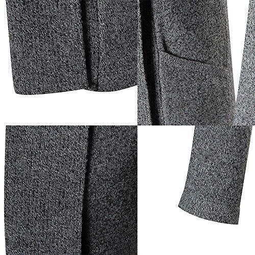 Elegante Grau Rebeca Manga Bobolily Algodón Abrigos Hombres Para Punto Largo Larga La Manera Cuello De Muy Cárdigan qqwxSat8