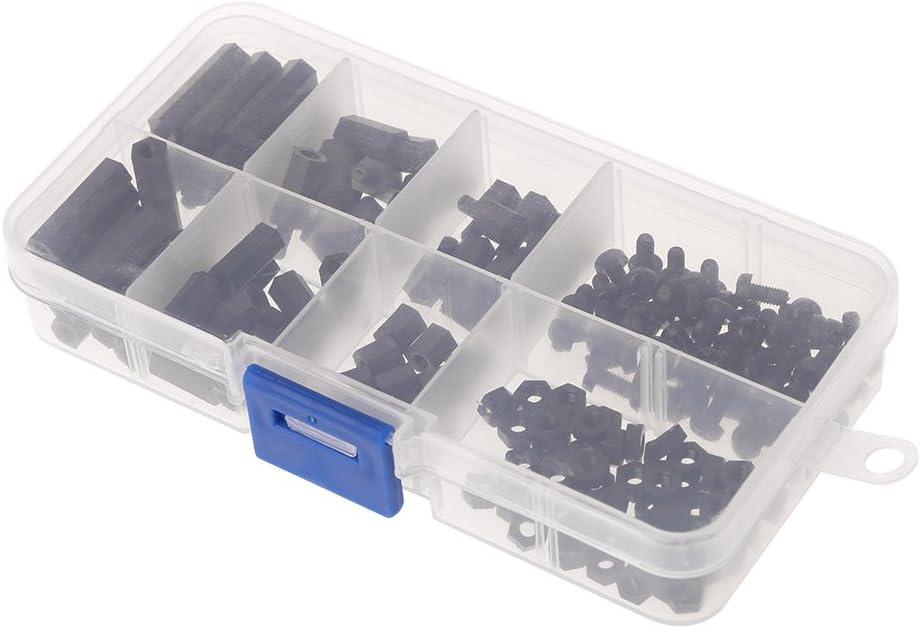 SALliang 160 piezas M3 de nailon macho-hembra hembra-hembra hexagonal espaciadores de tornillo separador de tuerca con caja de plástico: Amazon.es: Bricolaje y herramientas