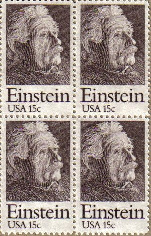 ALBERT EINSTEIN ~ PHYSICIST ~ SCIENTIST #1774 Block of 4 x 15¢ US Postage Stamps