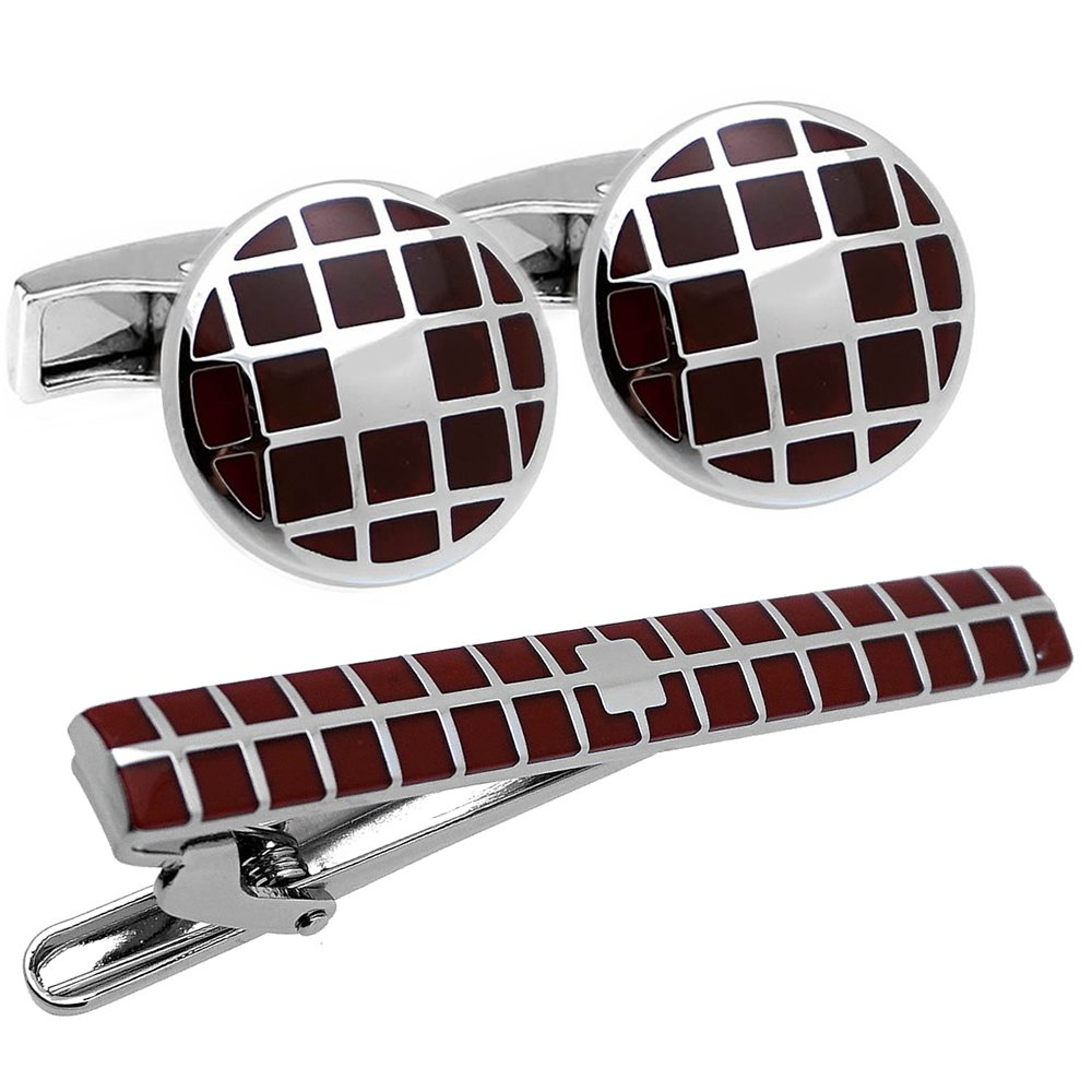 Burgundy and Silver Check Cufflinks and Tie Clip Set