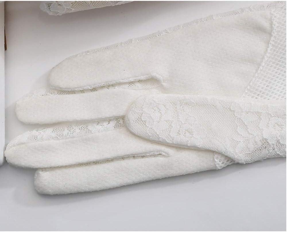 Leouy Elegant Lace Gloves Driving Bicycle Non-slip Gloves Short Ice Silk Gloves Wedding Mitten Sun Visor Gloves Women UV Protection Ladies Summer Thin Gloves Cotton Mitten