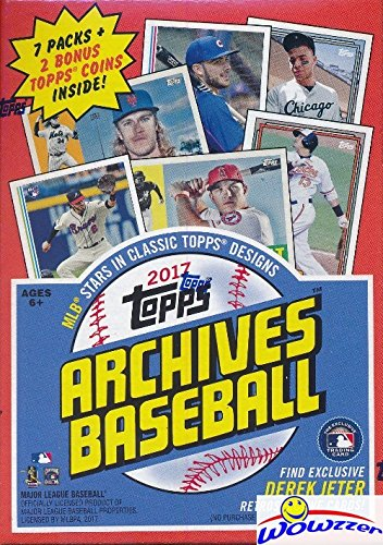 Box Bonus Pack - 2017 Topps Archives Baseball EXCLUSIVE Factory Sealed Retail Box with DEREK JETER INSERT & BONUS PACK of 2 Topps Coins! Look for Autographs of Aaron Judge,Mike Trout,Sandy Koufax,Jeter & More! WOWZZER