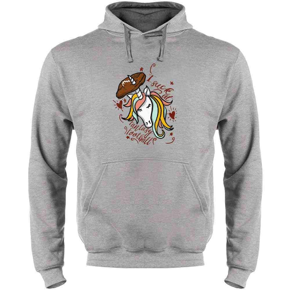Pop Threads I Suck at Fantasy Football Mens Fleece Hoodie Sweatshirt