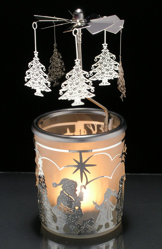 """""""Spinning Trees Candle Holder with Santa Scandinavian Design"""""""