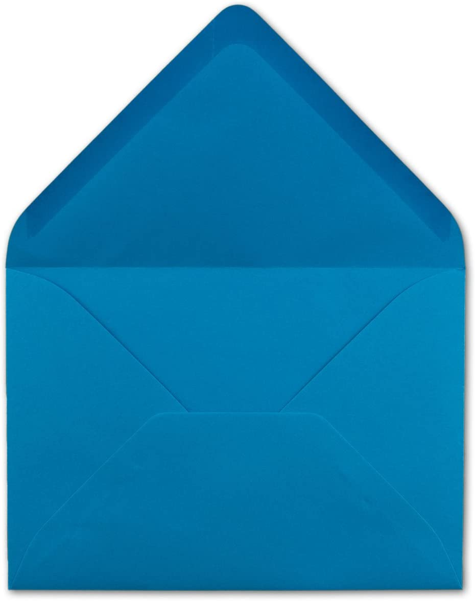Format B6/- 175/x 125/mm 80/g//m/² Lot denveloppes Neuser Bande collante /à humidifier 25 Umschl/äge Aquablau