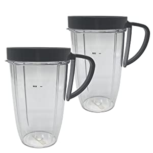 Replacement cup for nutribullet,2pcs 24oz replacement nutribullet cup for Nutri bullet 600W/900W machine (2, 24oz tall Cup with handle Ring)