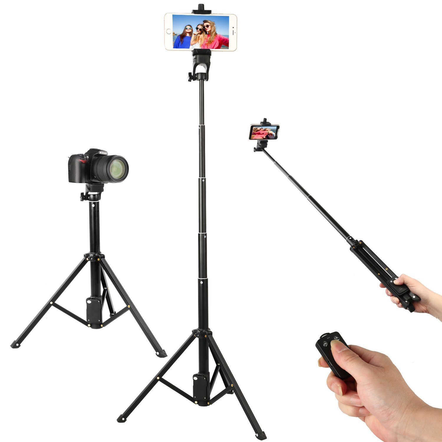 Wireless Remote Selfie Stick Tripod, 54 Inch Adjustable Phone Tripod, Extendable Camera Tripod for Cellphone and Gopro Camera iPhone 8/8 Plus/X/7/7 Plus/Android/Galaxy/Google