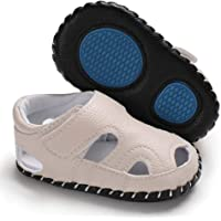 Baby Boys Girls Breathable Leather Sandals Walking Slippers with Rubber Sole Cartoon Outdoor Shoes First Birthday Gift