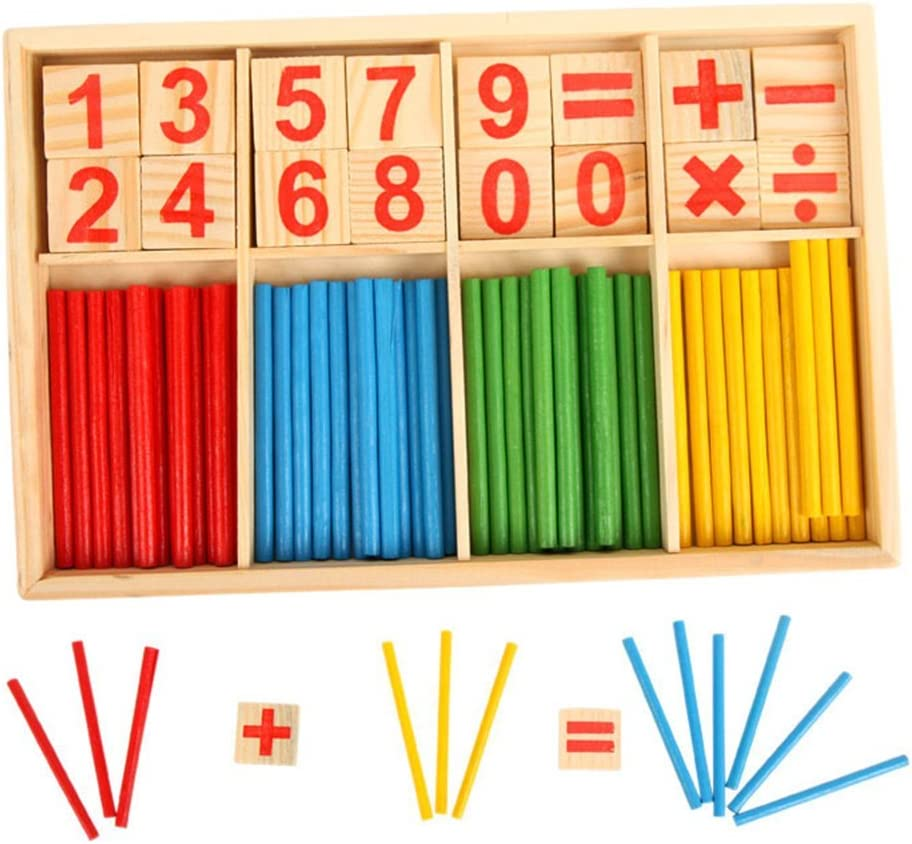 Fliyeong Pre-School Wooden Mathematical Intelligence Stick Early Learning Counting Toy Creative and Useful