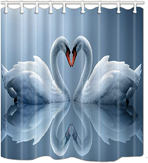3D Printing White Swan Couple Heart Bathroom Polyester Fabric Shower Curtain Set