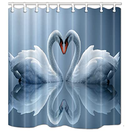 Home & Garden White Swans Couple Heart Waterproof Polyester Fabric Shower Curtain Set Fantastic Decorations Bath Curtain A Wide Selection Of Colours And Designs
