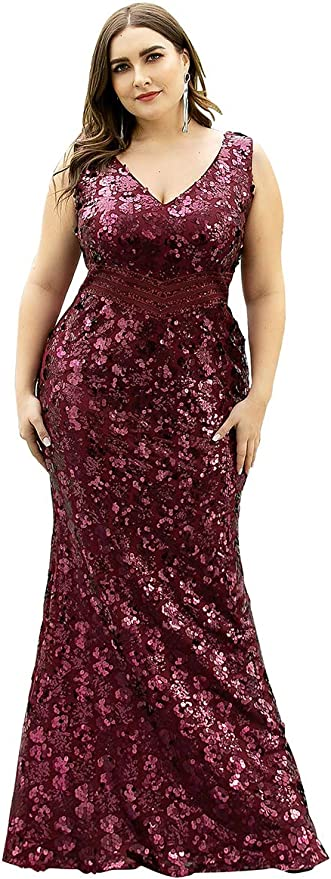 Ever-Pretty US Plus Size Double V-neck Long Prom Dress A-Line Holiday Party Gown