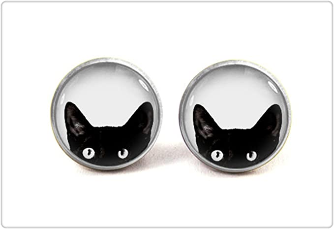 Black cat stud earrings Black panther jewelry Black cat earrings Cat jewelry Cat lover gift for her Crazy cat lady gifts Ceramic earrings
