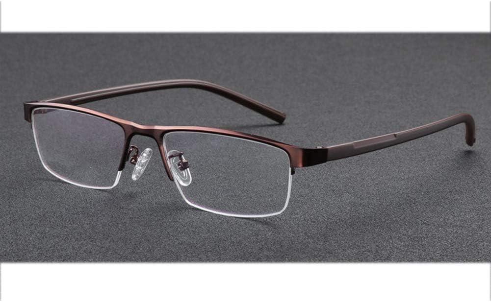 Hombres Gafas de lectura fotocrómicas Hipermetropía Cambio de color Gafas de protección contra la radiación ultravioleta Gafas de sol de medio marco Rectángulo Gafas de lectura Dioptrías 1.0 a 3.0, M