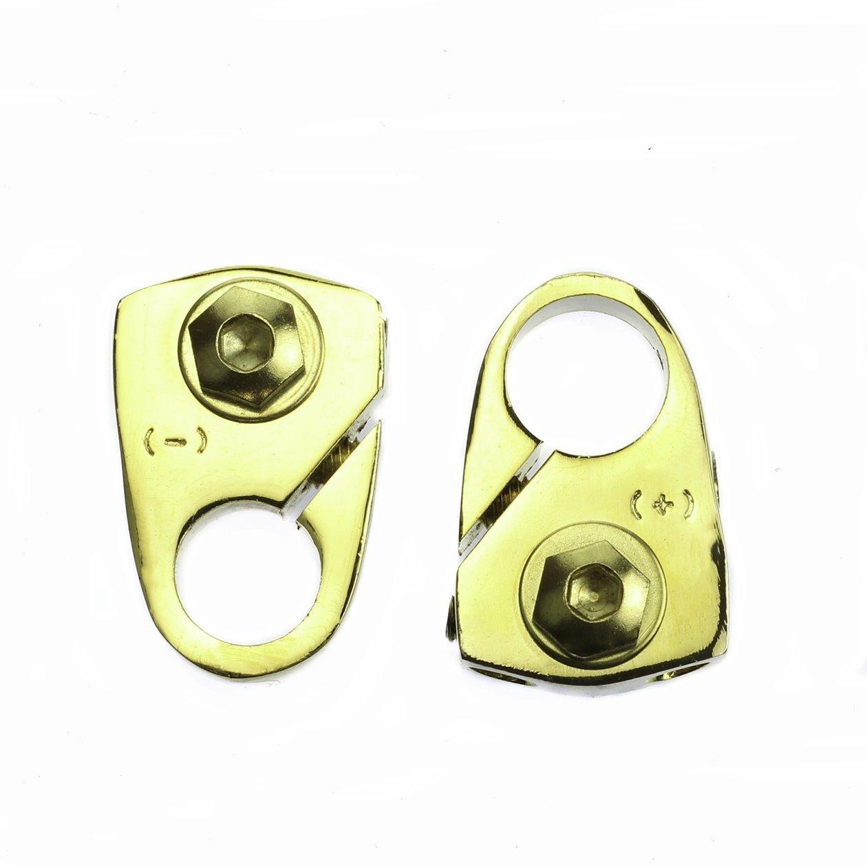 Gold 2ea 8 AWG Gauge Positive & Negative Battery Terminal +/- Pair