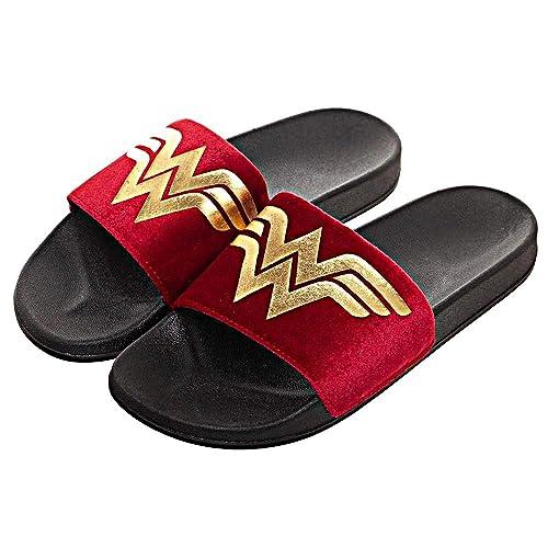 eb1465fb82bd5 DC Comics Wonder Woman Velvet Slides Slip On Shoes Slippers (Medium)