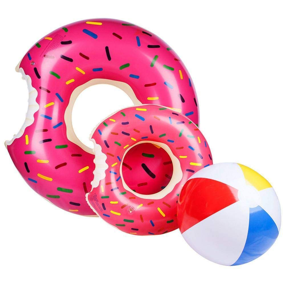 Ado Glo Donut Pool Floats, Giant Strawberry Swim Rings for Beach and Pool, 2 Pack with a Beach Ball