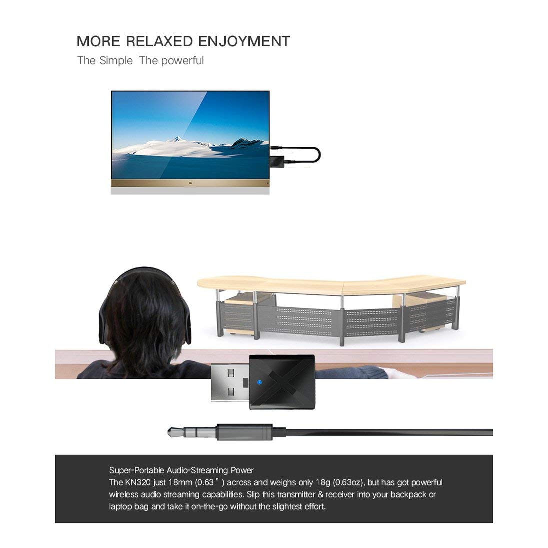 Trasmettitore USB Transmite Mini V3.0 Audio Transmitter Adattatore stereo per TV iPod Mp3 Mp4 PC ToGames-IT