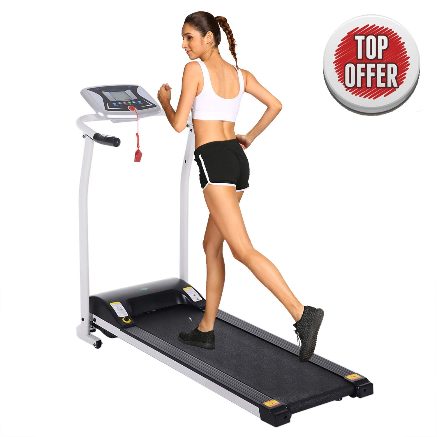 Folding Electric Treadmill Running Machine Power Motorized for Home Gym Exercise Walking Fitness (1.5 HP - White - Not Incline.) by ncient