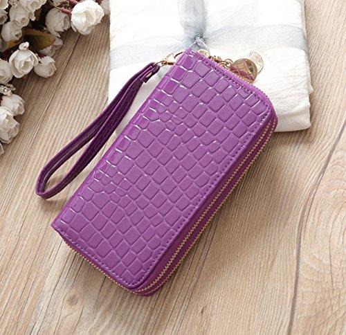 Frauen Mode Solide Doppel Pull Geldbörse Tasche Handytasche Geldbörsen  (Weiß) Lila