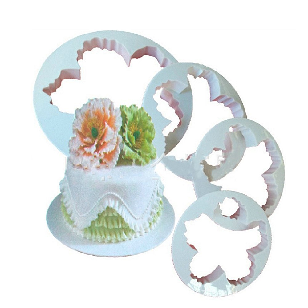 BHCSTORE Cake Decorating Gumpaste Flower Molds Peony Fondant Cutters Set Sugarcraft Modeling Tools Kit for Cake Decoration(4pcs,white)