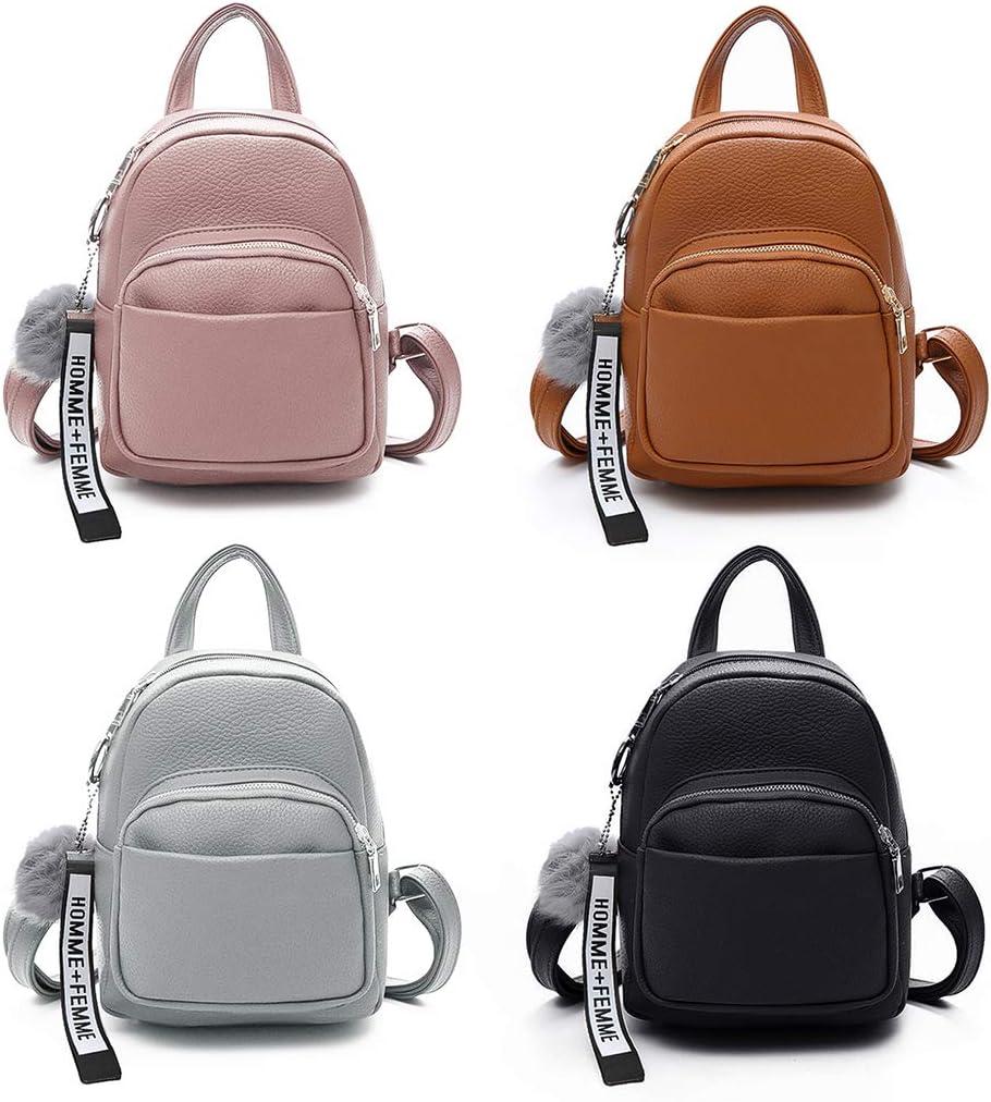W-FIGHT Women PU Leather Backpacks Mini Cute Travel Rucksack Ball Pendant Shoulder Handbags School Bag