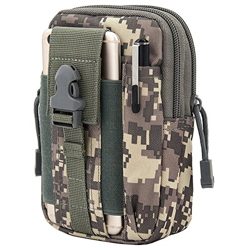 Fitackle Tactical Molle Pouch EDC Utility Gadget Belt Waist Bag,Camping Hiking Outdoor Gear Cell Phone Holster Holder for iPhone 6/6S 7/7 Plus Samsung Note 2 3 4(ACU) …