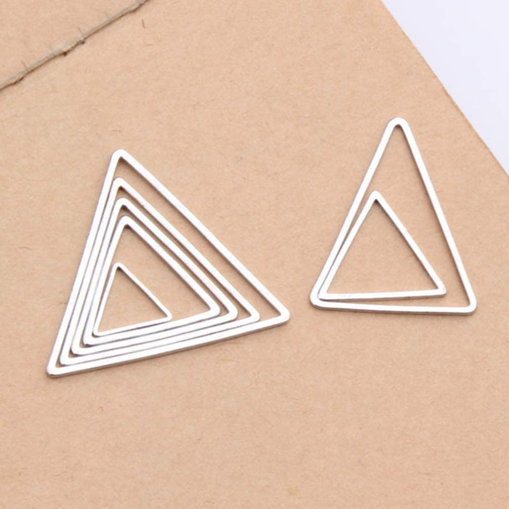 SUPVOX Triangle Diy Charms Pendants Ear Jewelry Making Supplies Geometric Charms for Jewelry Making Founding 60pcs Silver