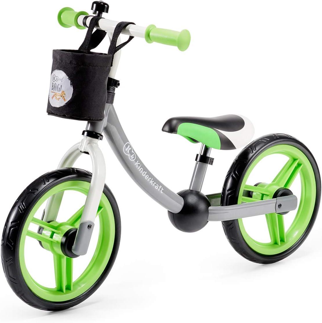 Kinderkraft Bici sin Pedales 2WAY Next, Cuadro Bajo, Sillin Blando, Gris Verde