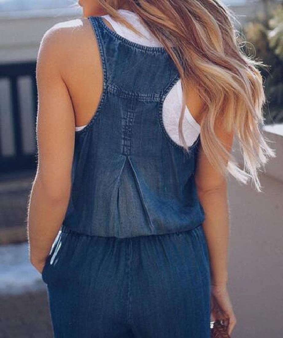 Cromoncent Womens Sleeveless Denim Playsuit Romper Slim Fit Jumpsuits