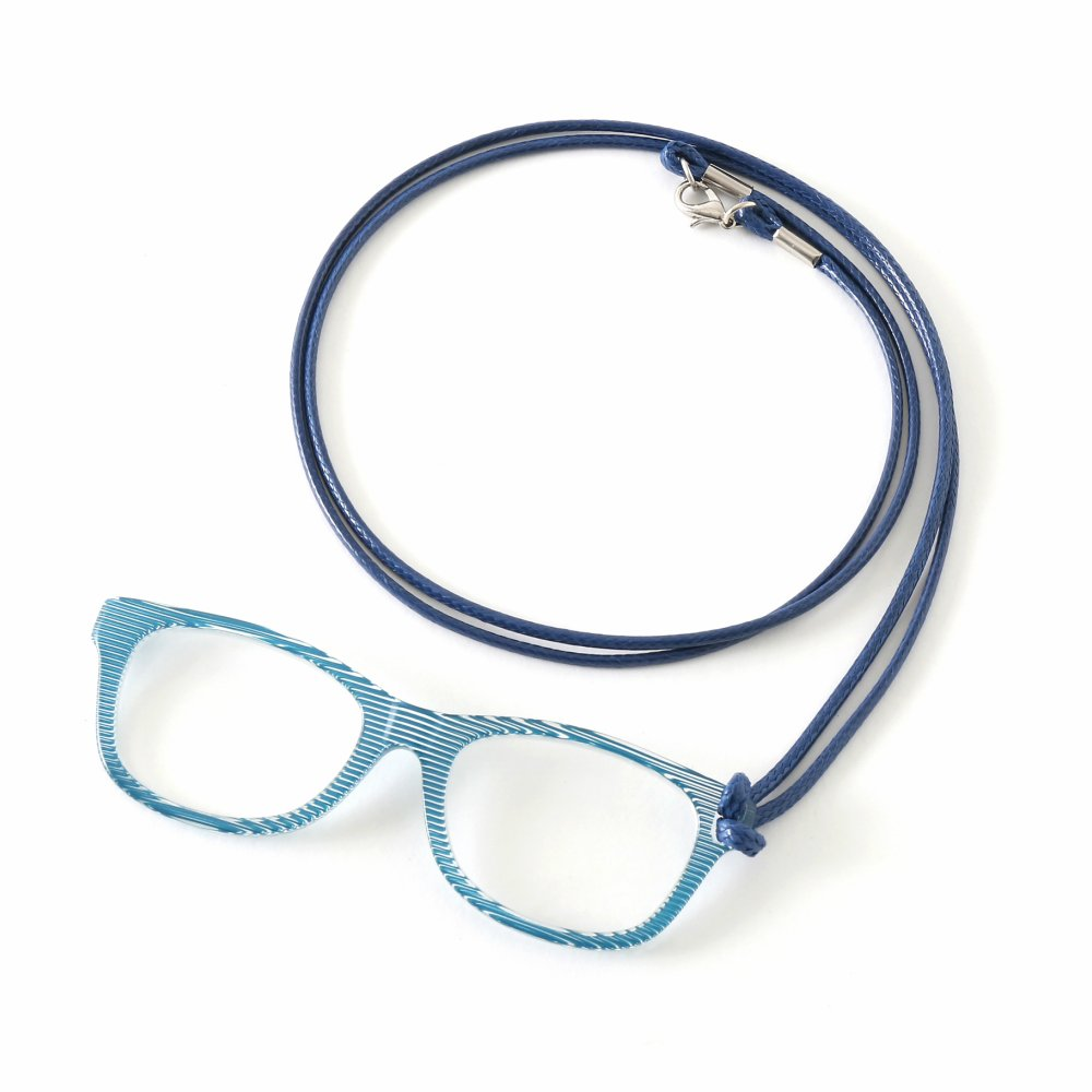 MIDI Italian Blue pg003c3 Italian Fine Acetate Lorgnette Loupe with cord for women – Magnifying and Reading Glasses all in one