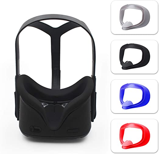 Sweatproof Waterproof Anti-Dirty Replacement Facial Cushion Oculus Pads Accessories Gray AMVR VR Silicone Face Cover for Oculus Quest 2 Headset