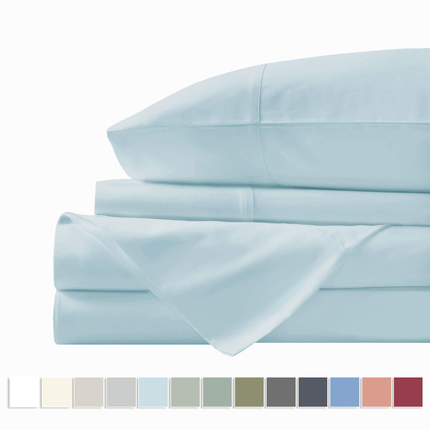 "Pizuna 400 Thread Count Cotton Light Blue Queen Sheets Set, 100% Long Staple Cotton Sheets, Soft Cotton Satin Bed Sheets fit Upto 17"" Deep Pockets (Baby Blue Queen 100% Cotton Sheets)"