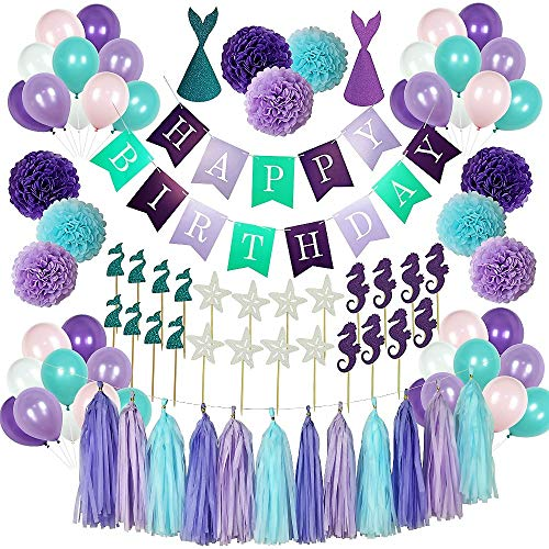 Mermaid Party Supplies - 88 Pack Mermaid Birthday Party Decorations for Girls Birthday Party Baby Shower Bridal Shower Decorations Little Mermaid Party Under the Sea Ariel Birthday Party - Premium Quality with extra added Bonus]()