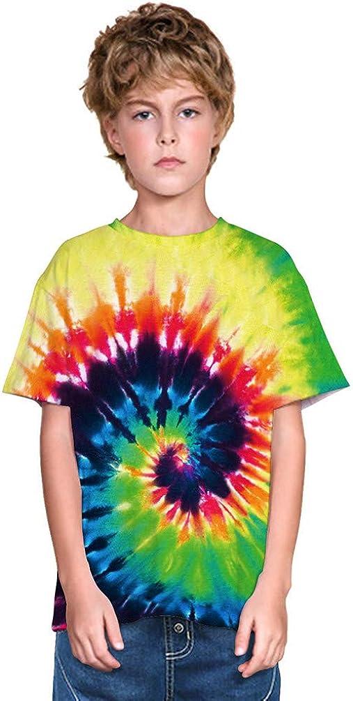 Imbry Boys Girls Tie-Dye Printed T-Shirt Cool Rainbow Spiral Shirt Kids Tee Tops