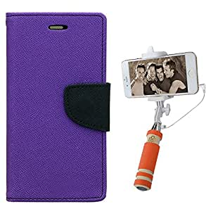 Aart Fancy Diary Card Wallet Flip Case Back Cover For HTC E9Plus - (Purple) + Mini Aux Wired Fashionable Selfie Stick Compatible for all Mobiles Phones By Aart Store