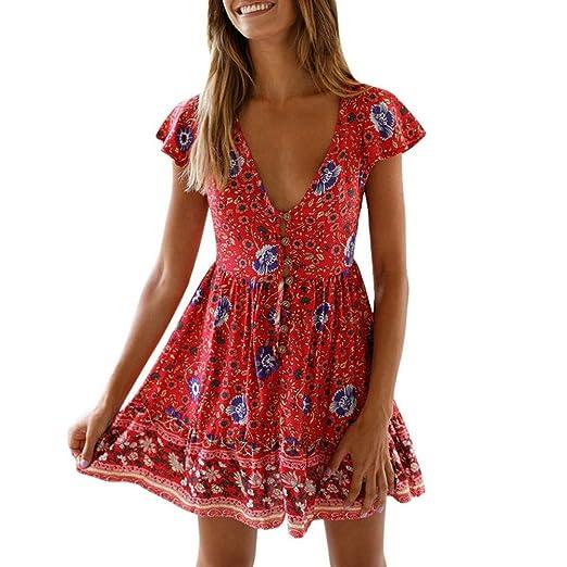 08dfbbc17d4 Women V Neck Low Cut Dress Button Ruffle Boho Floral Print Short Sundress  Mini Dress by Lowprofile at Amazon Women s Clothing store